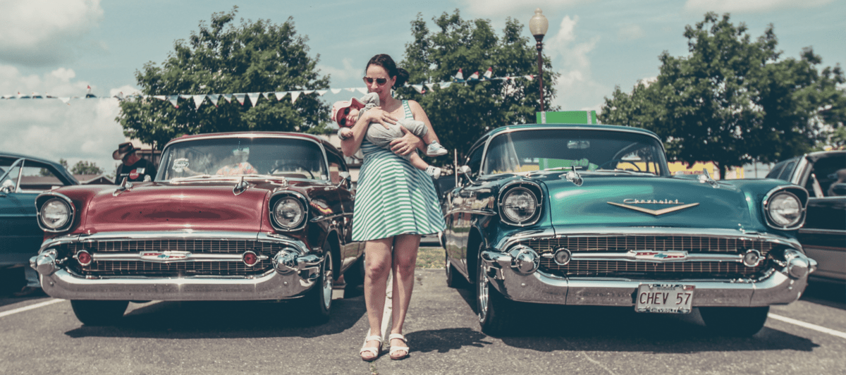 retro cars and mom with baby